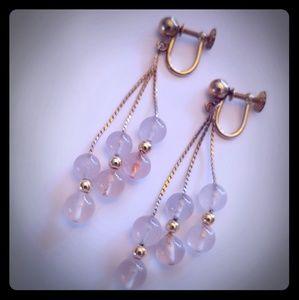 Rose quartz & 14k gold filled vintage earrings